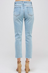 Distressed High Waist Straight Leg Fray Hem Cropped Jeans