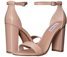 Load image into Gallery viewer, Leather Strapped Open Toe Ankle Strap Block Heels