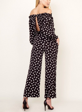Load image into Gallery viewer, Polka Dot Print Off The Shoulder Open Back Cropped Wide Leg Jumpsuit