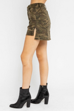 Load image into Gallery viewer, Camo Print Side Slit Stretch Mini Skirt