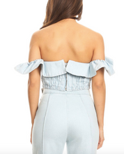 Load image into Gallery viewer, Light Wash Denim Off The Shoulder Ruffle Crop Top