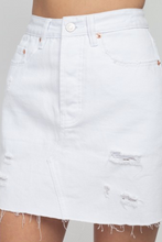 Load image into Gallery viewer, Distressed Denim Mini Skirt