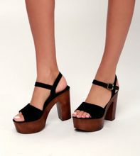 Load image into Gallery viewer, Suede Wooden Heel Platform Sandal