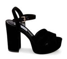 Load image into Gallery viewer, Suede Covered Stacked Heel Platform Sandal