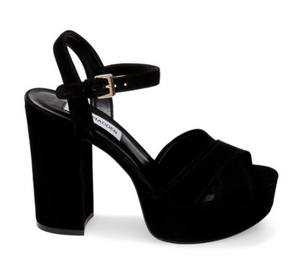 Suede Covered Stacked Heel Platform Sandal