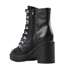 Load image into Gallery viewer, Leather Stacked Heel Platform Hiker Lace Up Side Zip Bootie