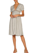 Load image into Gallery viewer, Chambray V Neck Short Sleeve A Line Macrame Button Midi Dress
