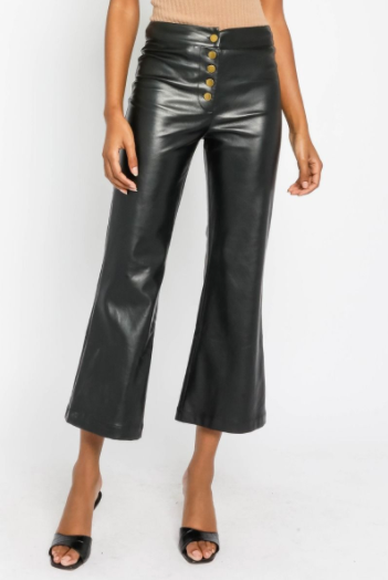 Eco Leather Button Flare Crop Pant