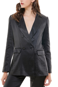 Satin Double Breasted Lined Blazer