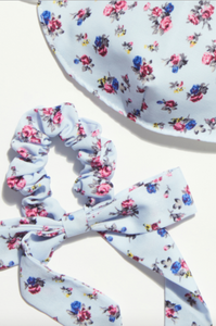Floral Bow Scrunchie Mask Set