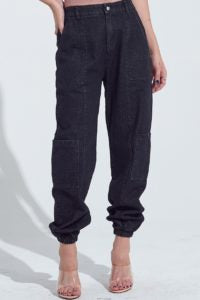 Denim Six Pocket Cargo Elastic Waist Jogger Pant