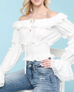 Bell Sleeve Off the Shoulder Smocked Ruffle Top