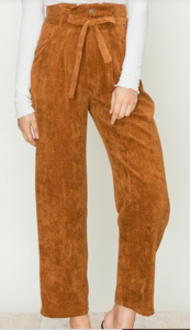 Corduroy Paperbag Waist Tie Front Pants