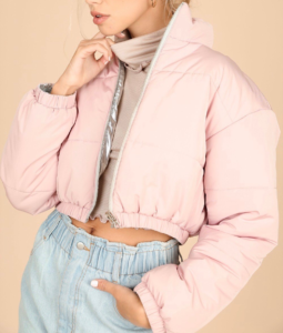 Metallic Reversible Quilted Cropped Jacket