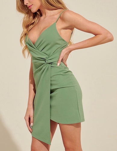Faux Wrap Asymmetrical Hem Mini Dress