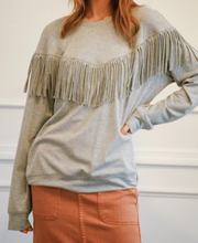 Load image into Gallery viewer, Western Fringe Crew Neck Sweatshirt
