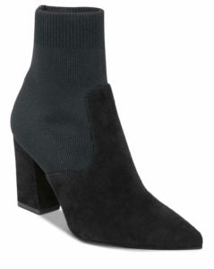 Suede Stacked Heel Pointy Toe Sock Bootie