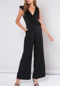Sleeveless V Neck Ruffle Wide Leg Jumpsuit