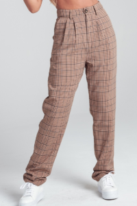 Plaid Pattern Pin Tucked High Waist Pockets Trouser Pants