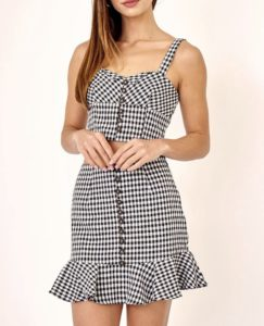 Gingham Print Button Tortoise Front Stretch Crop Top