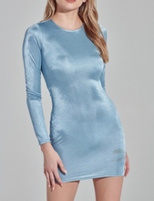 Load image into Gallery viewer, Shimmer Long Sleeve Scrunched Back Bodycon Mini Dress