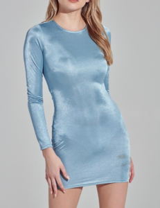 Shimmer Long Sleeve Scrunched Back Bodycon Mini Dress