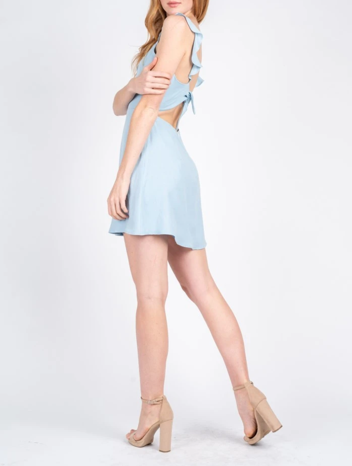 Ruffle Strap Tie Back Dress