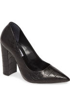 Load image into Gallery viewer, Croc Embossed Leather Pointed Toe 4 Inch Stacked Heel Pump
