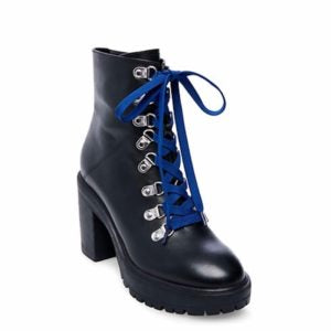 Leather Stacked Heel Platform Hiker Lace Up Side Zip Bootie
