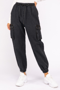Denim Drawstring Cargo Jogger Pants
