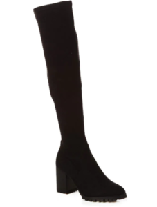 Suede Stacked Heel Tread Sole Thigh High Boot