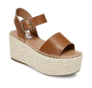 Leather Ankle Strap Wicker Platform Heel Sandal