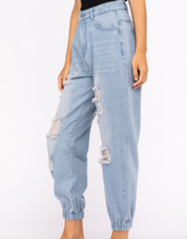 Load image into Gallery viewer, Distressed 5 Pocket Denim Joggers