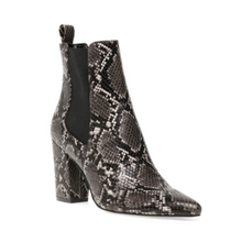 Load image into Gallery viewer, Snake Elastic Gussets 3.25in Stacked Heel Bootie