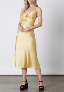 Satin Tie Midi Dress