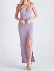 V Neck Spaghetti Strap Side Slit Faux Wrap Ruched Maxi Dress