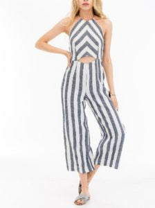Chambray Cut Out Striped Halter Jumpsuit