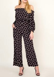 Polka Dot Print Off The Shoulder Open Back Cropped Wide Leg Jumpsuit