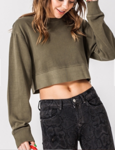Crew Neck Drop Shoulder Cropped Sweatshirt