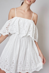 Eyelet Off The Shoulder A Line Mini Dress