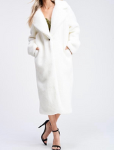 Load image into Gallery viewer, Notched Collar Teddy Maxi Coat
