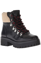 Load image into Gallery viewer, Leather Faux Shearling Lace Up Lug Sole Hiker Bootie