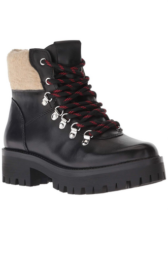 Leather Faux Shearling Lace Up Lug Sole Hiker Bootie