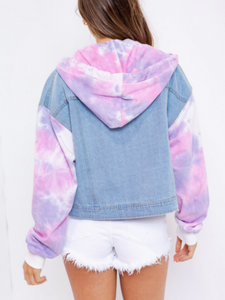 Tie Dye Long Sleeve Denim Jacket