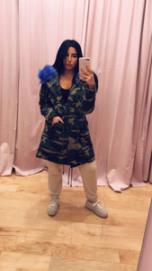Camo Removable Blue Faux Fur Jacket