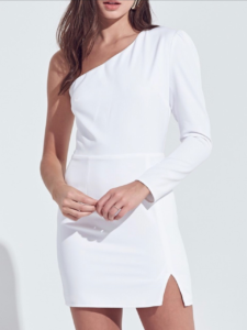 One Shoulder Shirring Detail Mini Dress
