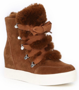 Suede Faux Fur Lined Wedge Lace Up Sneaker