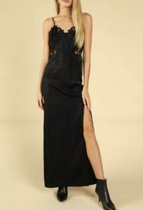 Satin Lace Deconstructed Bustier Spaghetti Strap Side Slit Dress
