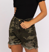Load image into Gallery viewer, Camo Distressed High Waist Shorts