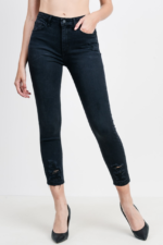 Washed Distressed Fray High Waist Jeans